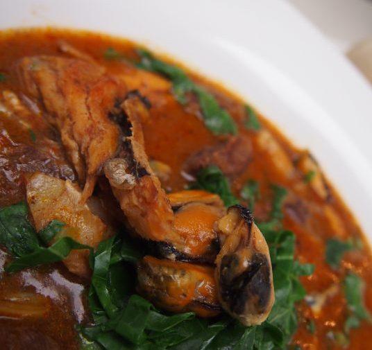 Ogbono soup, also known as apon. akpon, dika and wild mango.
