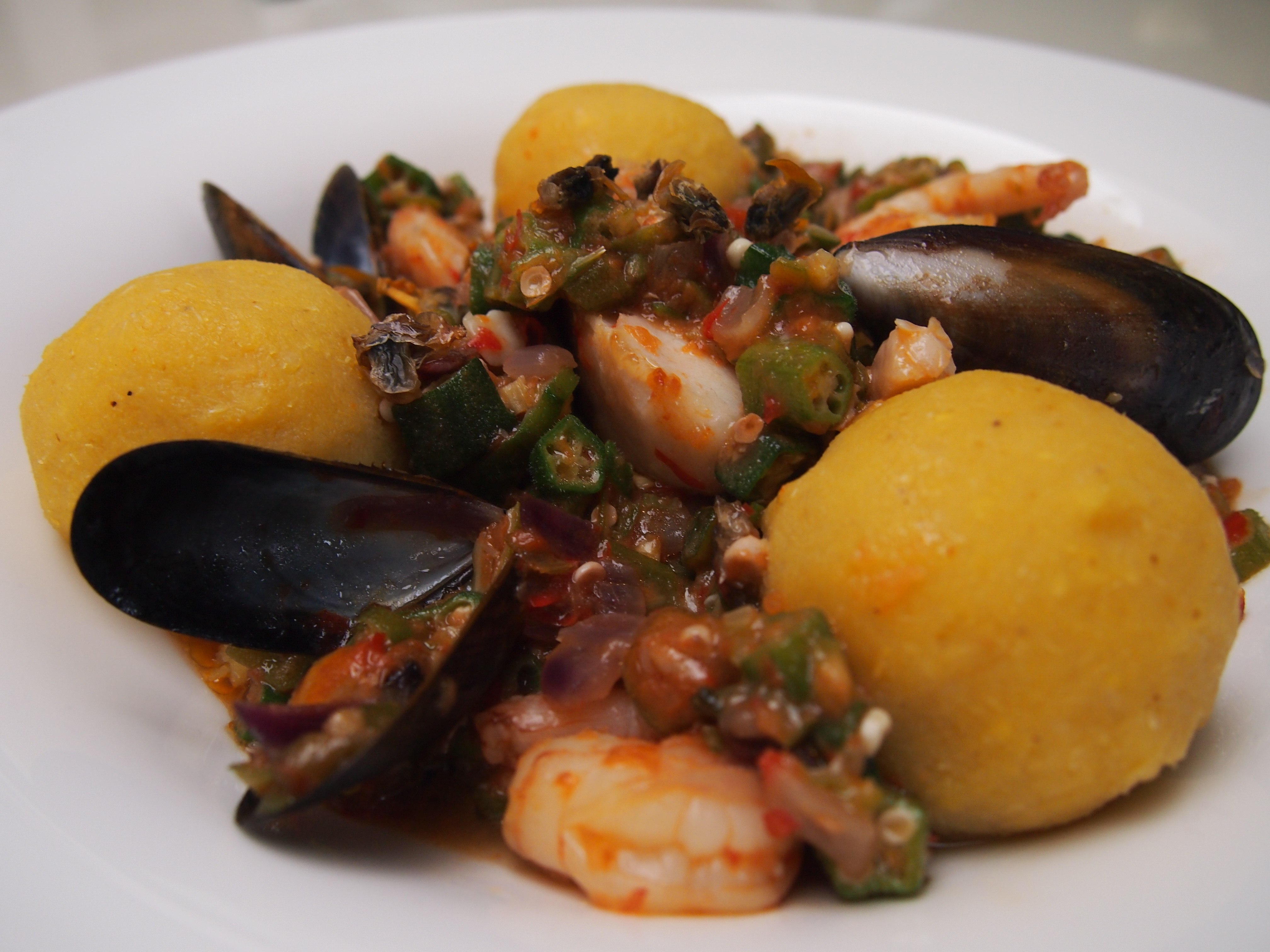 Seafood, okro and gari, food fit for a king.