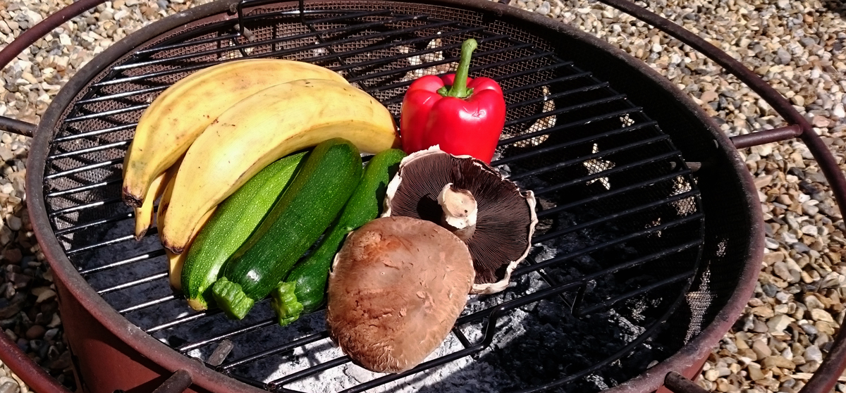 Plantain, courgettes(AKA zucchini), mushrooms and bell peppers are a few of many vegetables that do well on the grill
